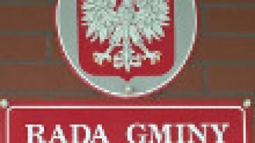 Szyld Rady Gminy Sośno z szyldem godła Polski